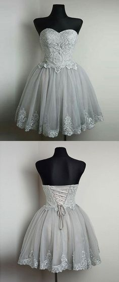 Strapless Gray Lace Tulle Homecoming Prom Dresses, Affordable Short Pa – SposaDesses