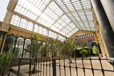 The open courtyard between the two greenhouses of L'Hivernacle in the Parc de la Ciutadella - Barcelona, Spain