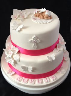 Flower Fairy Baby on Christening Cake