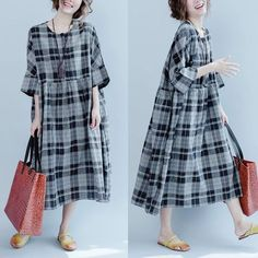 Gray black grid dress