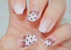 Lace and polka dots nails