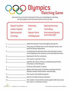 Worksheets Olympic Trivia