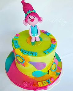 Trolls Cake featuring Poppy. Colored with Americolor Electric gels. Trolls birthday