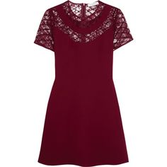 Sandro - Ravel Embroidered Lace-paneled Crepe Mini Dress ($146) ❤ liked on Polyvore featuring dresses, burgundy, crepe dress, embroidery dress, purple dress, lace inset dress and short dresses