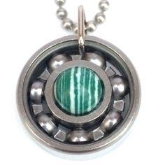 Green Zebra Stripe Roller Derby Skate Bearing Pendant #rollerderby #bearingjewelry #derbygirldesigns #rollerderbygifts
