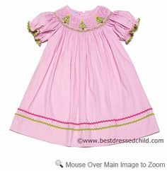 Smocked Silly Girls Soft Pink Corduroy Bishop Dress - Smocked Christmas Trees