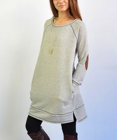 Another great find on #zulily! Gray Faux Suede-Elbow Patch French Terry Tunic #zulilyfinds