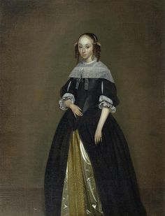 Gerard ter Borch Flemish) Portrait of a Young Lady 17th Century Clothing, 17th Century Fashion, 16th Century, Historical Costume, Historical Clothing, Female Clothing, Baroque Painting, Rococo Fashion, German Women