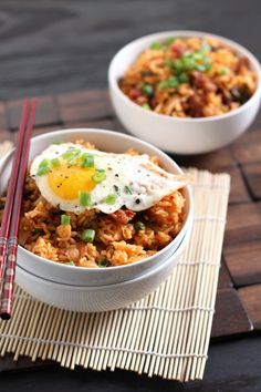Rice Cakes with Kimchi, Bacon, and Spinach | Recipe | Rice Cakes ...