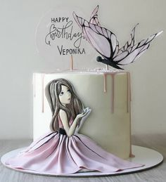 Birthday Drip Cake, Hello Kitty Birthday Cake, Funny Birthday Cakes, Teen Girl Cakes, Little Girl Cakes, Birthday Cake For Daughter, Birthday Cake Girls, Girly Cakes, Cute Cakes