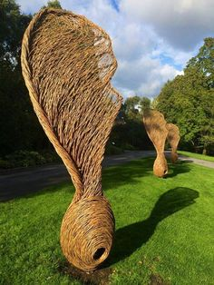 "Ephemeral structures! <3 ""these are really beautiful"" - Incredible Edible Todmorden Page pass on ""Willow-woven sycamore seeds by Tom Hare, on show at Oslo Botanical Gardens."""