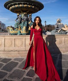 Satin evening dresses - Off The Shoulder Satin Burgundy Long Sleeved Evening Dress With High Slit Prom Dresses – Satin evening dresses Pretty Dresses, Sexy Dresses, Beautiful Dresses, Summer Dresses, Long Dresses, Dress Long, Long Elegant Dresses, Fancy Dress, Red Long Sleeve Dress