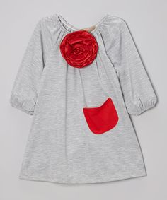 Take a look at this Gray & Red Flower Peasant Dress - Toddler & Girls by Lele Vintage on #zulily today!