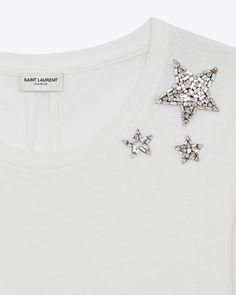 Saint Laurent ショートスリーブ クリスタルスター Tシャツ(アイボリー / コットンジャージ) | YSL.com