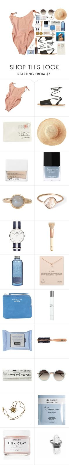 """""""EURO TAN"""" by bells-in-wanderland ❤ liked on Polyvore featuring American Apparel, Topshop, Moschino, Polaroid, Toast, NARS Cosmetics, Butter London, Tamara Comolli, Parisi and H&M"""