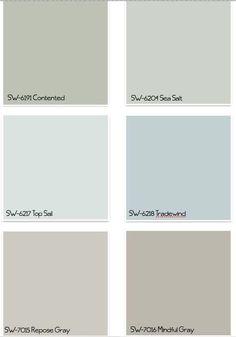 Sherwin Williams Paint Colors by Susz Coastal Paint Colors, Coastal Color Palettes, Farmhouse Paint Colors, Interior Paint Colors, Paint Colors For Home, Wall Colors, Paint Colours, Interior Painting, Indoor Paint Colors