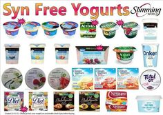 Syn free yoghurts astuce recette minceur girl world world recipes world snacks Slimming World Syns List, Slimming World Syn Values, Slimming World Desserts, Slimming World Recipes Syn Free, Slimming World Breakfast Ideas Quick, Asda Slimming World, Slimming World Shopping List, Shopping Lists, Syn Free Snacks