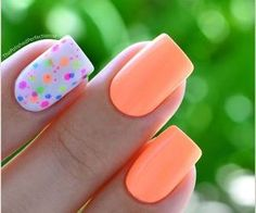 Favourite nail art with neon pink nails and neon polka dots on the ring finger with the background of white nail polish Fancy Nails, Love Nails, How To Do Nails, Bright Gel Nails, Bright Nail Art, Neon Nail Art, Neon Nail Polish, Colorful Nails, Nail Nail