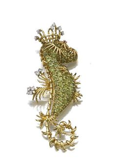 Gem-set and Diamond Seahorse Brooch, Schlumberger for Tiffany & Co