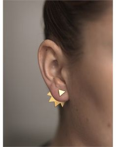 Katrine Kristensen 18KT chainsaw spike back earring