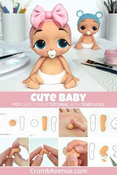 Cute Baby - PDF Cake Topper TUTORIAL with TEMPLATES / fondant, gum paste, figurine, kids, baby shower, birthday, bow, girl, boy, cake decorating, sugar art, clay, inspiration, idea, Crumb Avenue
