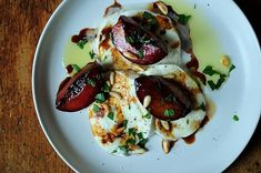 Buffalo Mozzarella with Balsamic Glazed Plums, Pine Nuts and Mint Recipe on Food52, a recipe on Food52 Balsamic Glaze, Balsamic Vinegar, Sauces, Buffalo Mozzarella, Mint Recipes, Fresh Figs, Food 52, The Dish, Baked Potato