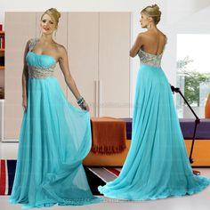 A-line One Shoulder Emerald formal dress