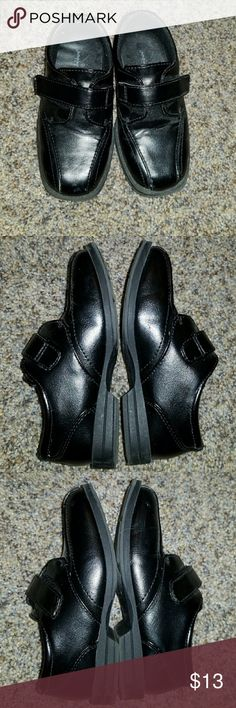 Toddler Boys Dress Shoes A few bruises on these super cute dress shoes for that cute little boy.  My son wore these twice and it shoes a little but are also like brand new since they grow in and out of them so fast. Velcro straps.  Make me offer Jumping Beans Shoes Dress Shoes