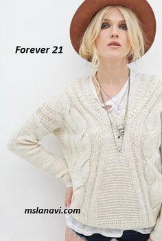 Вязаный пуловер спицами от Forever 21 - СХЕМЫ #ВязаниеСпицами…