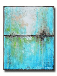 """""""Coastal Blues"""" Nothing beats the serene colors of the sea... Gallery Fine Art, blue abstract painting from original palette knife paintings in aqua blue green brown sand white. Unique scraped, textured, weathered, vintage effect. Coastal artwork, beach decor, large canvas print wall art home decor interior design -Select Sizes up to 60"""" - by Internationally Collected Artist, Christine Krainock"""