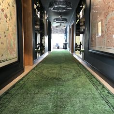 Hall Runners and Rugs - This is a Bespoke rug made to fit a long hallway in a stunning green colour - Hallway Rugs from The Handmade Rug Company