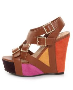 These shoes ARE STACKED! and sooo pretty..  #platform #pink #yellow #wedge