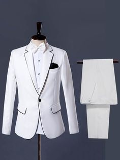 Notched Collar Contrast Trim Plain Mens Dress Suit We always strive to provide our customers with high quality products at a competitive price and catered to their explicit needs. Dress Suits For Men, Suits For Women, Mens Suits, Men Dress, Blazer Outfits Men, Dinner Suit, Suit Shop, Models, Blazers For Men