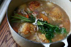 """WINE-BRAISED CHICKEN w/ SHALLOTS & PANCETTA - """"...seared chicken ..."""