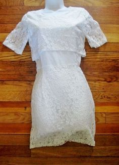 NEW WOMENS STYLEWE HAODUOYI Dress Girly Girl Party WHITE LACE S