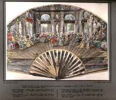 French fan c.1690 showing a ball. Patterns and Pictures from Maurice Leloir's Histoire du Costume, Volume 10, 1678-1725