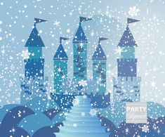 Princess Backdrop FROZEN WINTER 6 Ft X 5 Ft Vinyl by PartySquare, $79.00