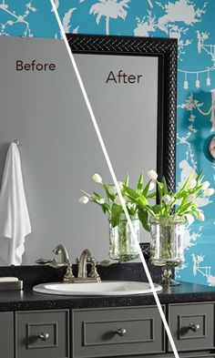 Add a touch of elegance to the bathroom with a MirrorMate mirror frame in Mayfair Black Tie. So easy to do! Easy way to put some pizazz in your bathroom or entryway! Dress up the home decor