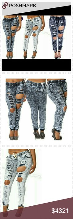 Plus size Denim Joggers (1X, 3X) Manufactured Distressed ripped Denim Joggers. Dress up or down with heels or sneakers. Please ask about color and size availability before purchasing. Available color and sizes= * Ice Acid Blue (Med, XL, 3XL), Blue (3XL) Pants Track Pants & Joggers