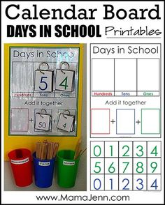 Want to add a calendar board to your schoolroom? Set it up quick and easy with these Calendar Board printables! Great for both classrooms and homeschool! 1st Grade Calendar, Kindergarten Calendar, School Calendar, Homeschool Kindergarten, Preschool Activities, Homeschooling, Calendar Bulletin Boards, Classroom Calendar, Calendar Board
