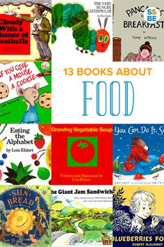 It's fun to learn about food with kids. Introduce food by reading stories about baking, cooking, eating and giving food. Here are 13 children's books about food to read aloud.