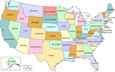 FREE Map of the United States from Mr. Printables...cute for kids ...