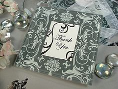 Glass Photo Coasters with Dark Grey & White Damask Design (Set of 2)