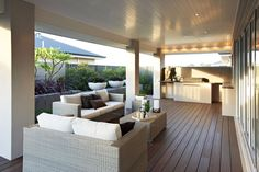 alfresco area, timber decking, built in bbq no bbq table required Outside Living, Outdoor Living Areas, Outdoor Rooms, Outdoor Dining, Outdoor Furniture Sets, Outdoor Decor, Alfresco Designs, Alfresco Area, Built In Bbq