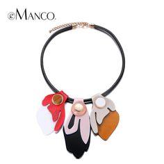 Emanco de moda colorida declaración geométrica collar choker collares y colgantes para las mujeres de cristal de resina de cuerda accesorios de la joyería