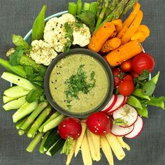 Crisp, fresh vegetables paired w/ Seed + Mill's green herb tahini