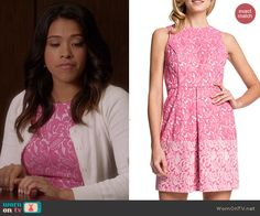 Jane's pink floral lace print dress on Jane the Virgin.  Outfit Details: http://wornontv.net/41775/ #JanetheVirgin