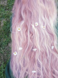 Pink fairy floss flower hair. Spring.