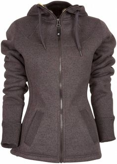 Aubrey Gevoerde Winter Fleece Jas Dames Donkergrijs.  Een heerlijke winter gevoerde fleece jas met verstelbare capuchon, hoog isolerend vermogen. Een ideaal jack voor de koudere droge dagen om in te wandelen. De wandeljas is verder voorzien van 2 steekzakken. € 79.95