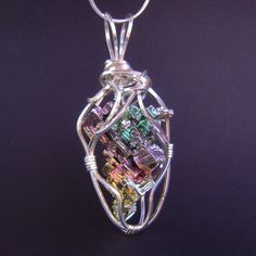 Bismuth pendant bismuth crystal necklace silver by FeathersnThingz
